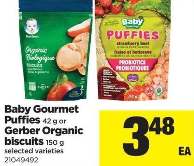 Baby Gourmet Puffies 42 G Or Gerber Organic Biscuits 150 G
