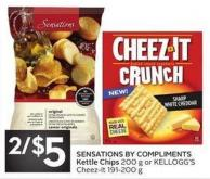 Sensations By Compliments Kettle Chips 200 g or Kellogg's Cheez-it 191-200 g