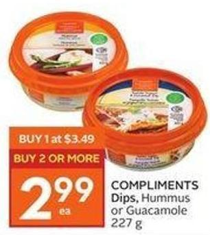 Compliments Dips - Hummus or Guacamole 227 g