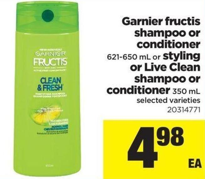 Garnier Fructis Shampoo Or Conditioner - 621-650 Ml Or Styling Or Live Clean Shampoo Or Conditioner - 350 Ml