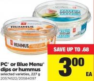 PC Or Blue Menu Dips Or Hummus - 227 g