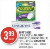 Burt's Bees Lip Balm (1's) - Polident Denture Cleansing Tablets (32's - 40's) or Sensodyne Toothpaste (75ml - 100ml)