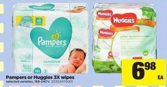 Pampers Or Huggies 3x Wipes - 168-240's
