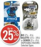 Bic (2's - 4's) - Gillette (15's - 18's) or Schick (3's - 4's) Disposable Razors