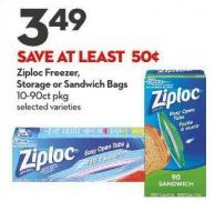 Ziploc Freezer -  Storage or Sandwich Bags 10-90ct Pkg