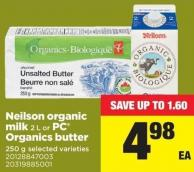 Neilson Organic Milk 2 L Or PC Organics Butter 250 G