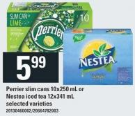 Perrier Slim Cans 10x250 Ml Or Nestea Iced Tea 12x341 Ml