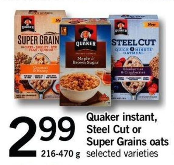 Quaker Instant - Steel Cut Or Super Grains Oats - 216-470 G