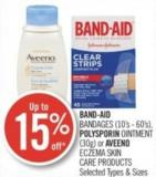Band-aid Bandages (10's - 60's) - Polysporin Ointment (30g) or Aveeno Eczema Skin Care Products