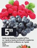 Blueberries - Or Family Size Driscoll's Raspberries - 340 g