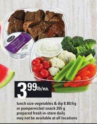 Lunch Size Vegetables & Dip Or Pumpernickel Snack - 265 g