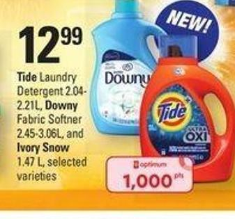 Tide Laundry Detergent 2.04-2.21l - Downy Fabric Softner 2.45-3.06l - And Ivory Snow - 1.47 L