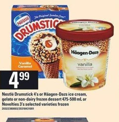 Nestlé Drumstick - 4's Or Häagen-dazs Ice Cream - Gelato Or Non-dairy Frozen Dessert - 475-500 Ml Or Novelties - 3's
