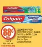 Colgate Maxfresh Toothpaste (52ml) - Manual Twister or Extra Clean Toothbrush (1's)