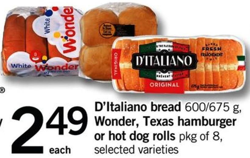 D'italiano Bread - 600/675 G - Wonder - Texas Hamburger Or Hot Dog Rolls - Pkg Of 8.