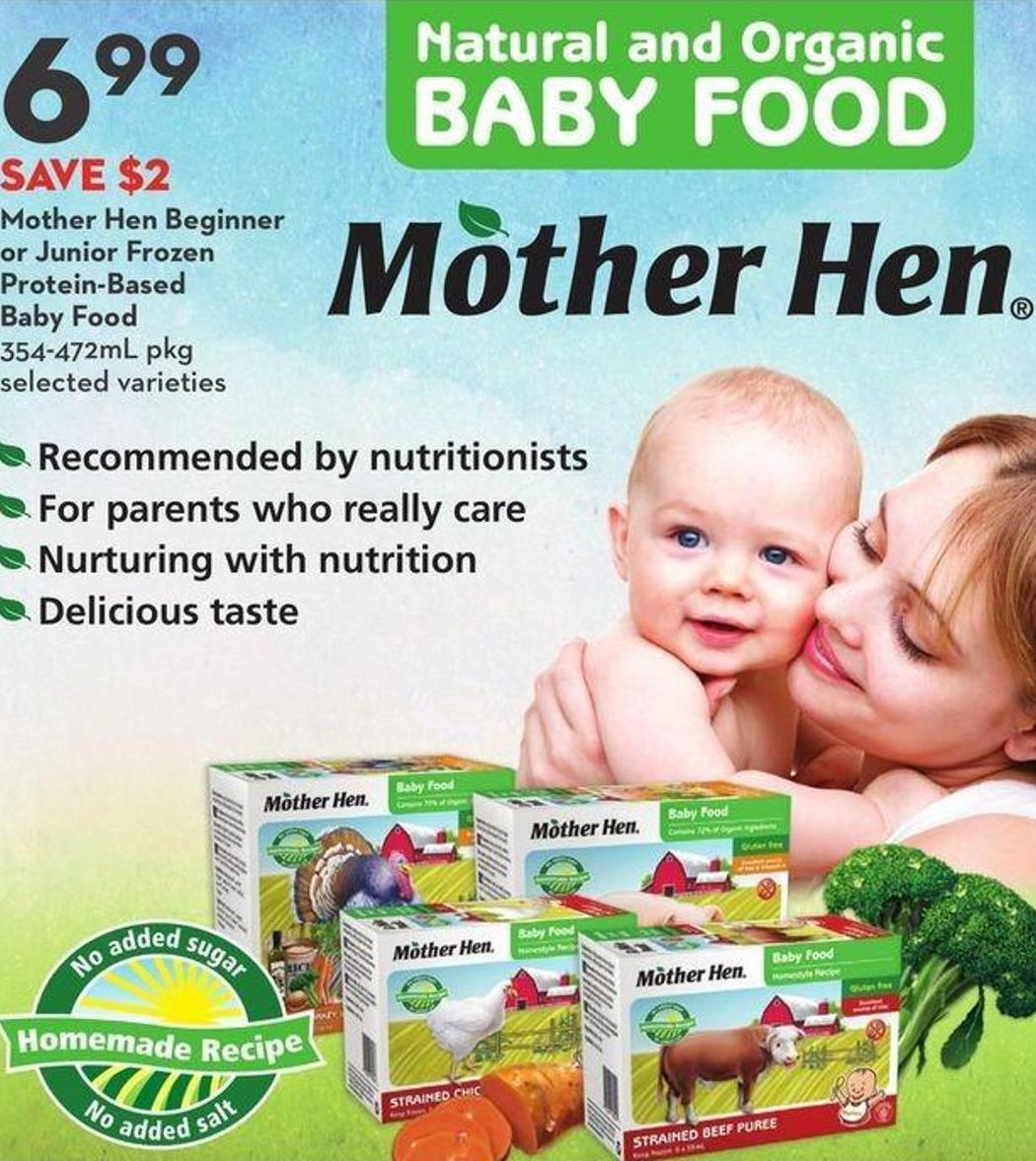 Mother Hen Beginner or Junior Frozen Protein-based Baby Food