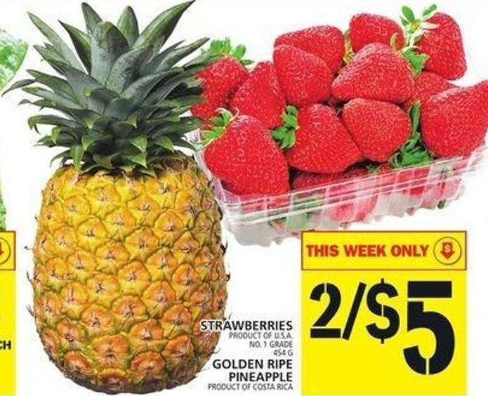 Strawberries Or Golden Ripe Pineapple