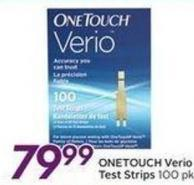 Onetouch Verio Test Strips 100 Pk -100 Air Miles Bonus Mils