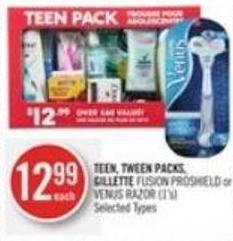 Teen - Tween Packs - Gillette Fusion Proshield or Venus Razor