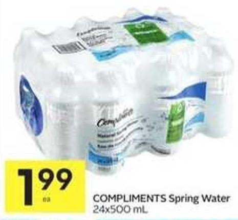 Compliments Spring Water 24x500 mL