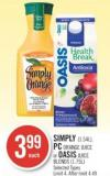Simply (1.54l) - PC Orange Juice or Oasis Juice Blends (1.75l)