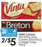 Dare Crackers 100-225 g - Vinta Crackers 200-250 g or Veggie Crisps 100 G- 4 Air Miles Bonus Miles