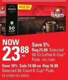 Folgers Selected 50-ct Coffee K-cup Pods