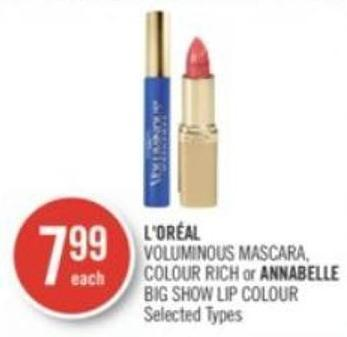 L'oréal Voluminous Mascara - Colour Rich or Annabelle Big Show Lip Colour