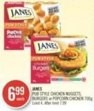 Janes Pub Style Chicken Nuggets - Burgers or Popcorn Chicken 700 g