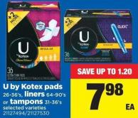 U By Kotex Pads - 26-36's - Liners - 64-90's Or Tampons - 31-36's