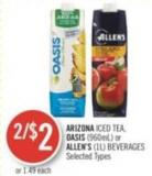 Arizona Iced Tea - Oasis (960ml) or Allen's (1l) Beverages