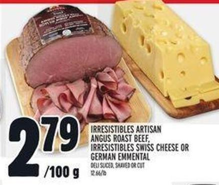 Irresistibles Artisan Angus Roast Beef - Irresistibles Swiss Cheese Or German Emmental