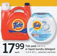 Tide PODS - 54/72's Or Liquid Laundry Detergent - 3.4-4.43 L