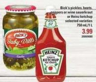 Bick's Pickles - Beets - Peppers Or Wine Sauerkraut Or Heinz Ketchup - 750 Ml/1 L