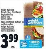 Weight Watchers Breads - Buns - Tortillas Or English Muffins