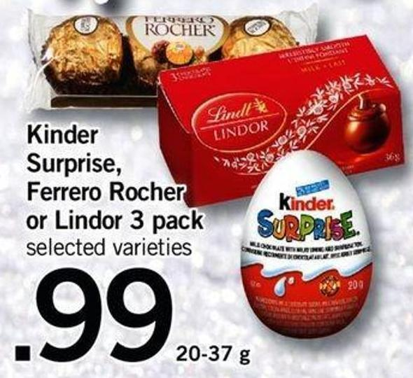 Kinder Surprise - Ferrero Rocher Or Lindor 3 Pack - 20-37 G