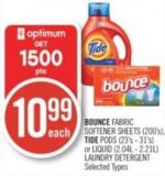 Bounce Fabric Softener Sheets (200's) - Tide PODS (23's - 31's) or Liquid (2.04l - 2.21l) Laundry Detergent