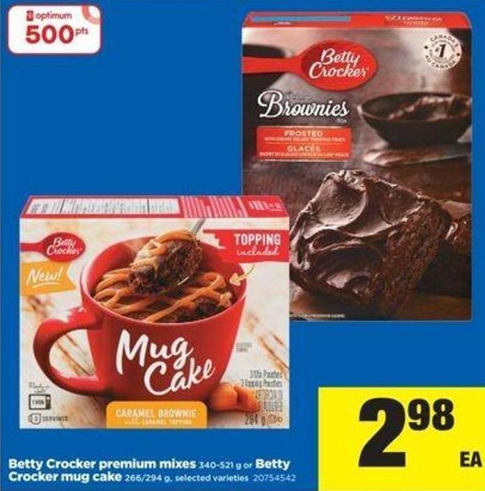 Betty Crocker Premium Mixes 340-521 G Or Betty Crocker Mug Cake 266/294 g
