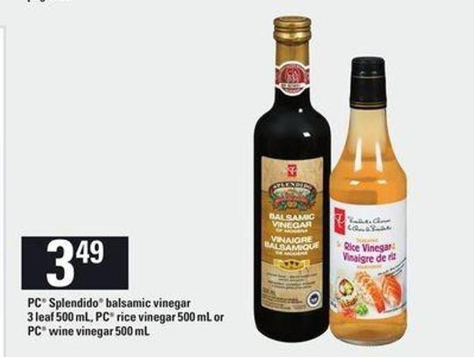 PC Splendido Balsamic Vinegar 3 Leaf 500 Ml - PC Rice Vinegar 500 Ml Or PC Wine Vinegar 500 Ml