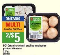 PC Organics Cremini Or White Mushrooms - 227 g