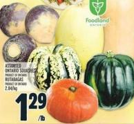 Assorted Ontario Squashes Product Of Ontario Rutabagas