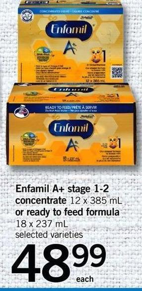 Enfamil A+ Stage 1-2 Concentrate 12 X 385 mL Or Ready To Feed Formula 18 X 237 mL