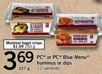PC Or PC Blue Menu Hummus Or Dips