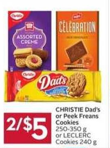 Christie Dad's or Peek Freans Cookies 250-350 g or Leclerc Cookies 240 g