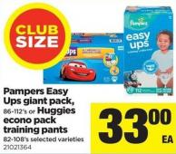 Pampers Easy Ups Giant Pack - 86-112's Or Huggies Econo Pack Training Pants - 82-108's