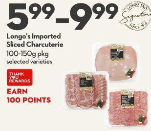 Longo's Imported  Sliced Charcuterie 100-150g Pkg
