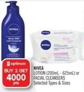 Nivea  Lotion (200ml - 625ml) or Facial Cleansers