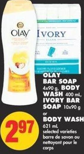 Olay Bar Soap - 4x90 g - Body Wash - 400 mL - Ivory Bar Soap - 10x90 g or Body Wash - 621 mL
