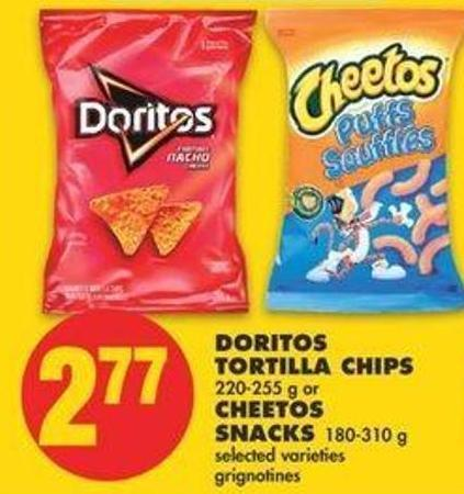 Doritos Tortilla Chips - 220-255 G Or Cheetos Snacks - 180-310 G