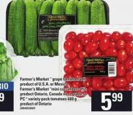 Farmer's Market  Grape Tomatoes 2 Lb - Farmer's Market Mini Cucumbers 15's Or PC  Variety Pack Tomatoes 680 G